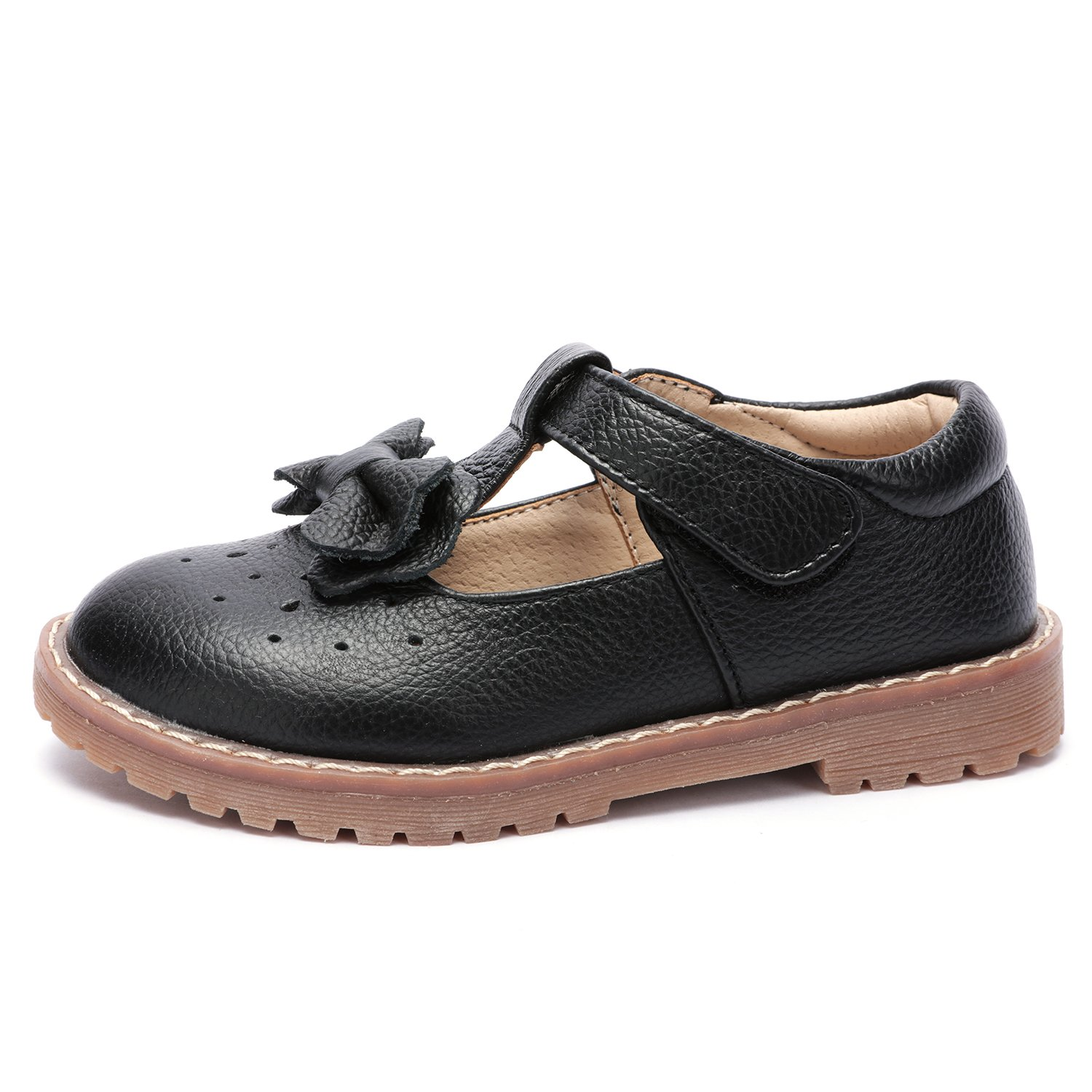 UBELLA Kids Toddler Girl's Retro T-Bar Princess Dress Shoes Leather Strap Mary Jane Flat Oxford Shoes by UBELLA (Image #2)