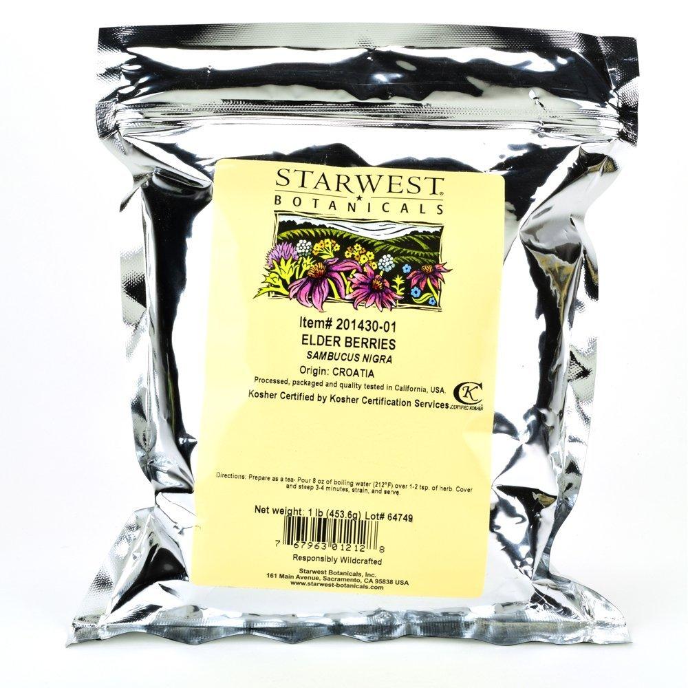Starwest Botanicals Elder Berries Whole Wildcrafted, 1 Pound