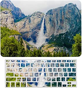 for MacBook Air 13 inch Case Keyboard Protective Shell Set Yosemite Fall Mountain California Park National Hard Shell Protective Case with Keyboard Cover for A1466、A1369