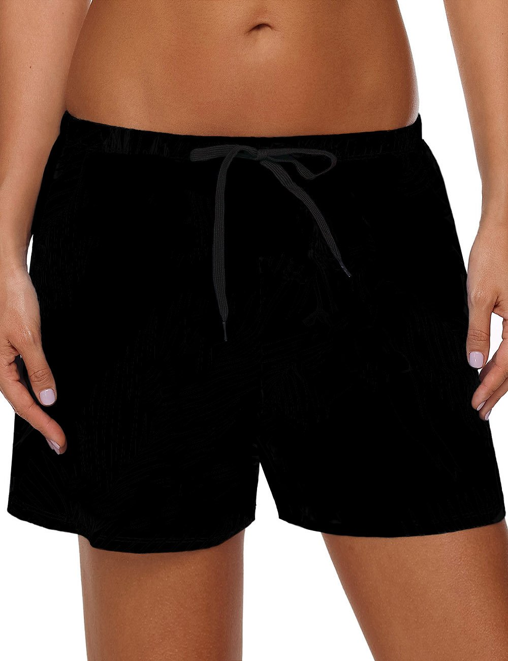 Utyful Women's Black Casual Quick Dry Drawstring Swimsuit Beach Board Shorts Size X-Large (Fit US 16 - US 18)