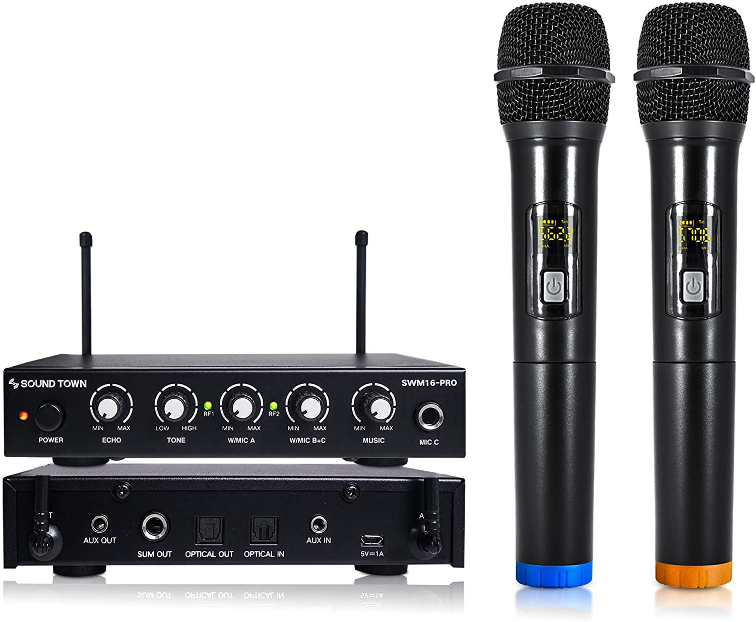 Sound Town 16 Channels Wireless Microphone Karaoke Mixer System with Optical (Toslink), AUX and 2 Handheld Microphones - Supports Smart TV, Home Theater, Sound Bar (SWM16-PRO)