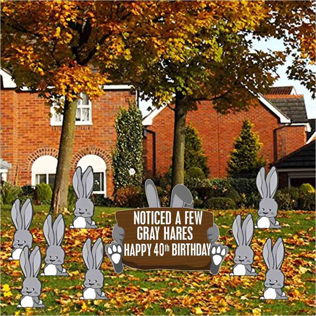 Amazon VictoryStore Yard Sign Outdoor Lawn Decorations Birthday Decoration Noticed A Few Gray Hares Happy 40th Health Personal Care