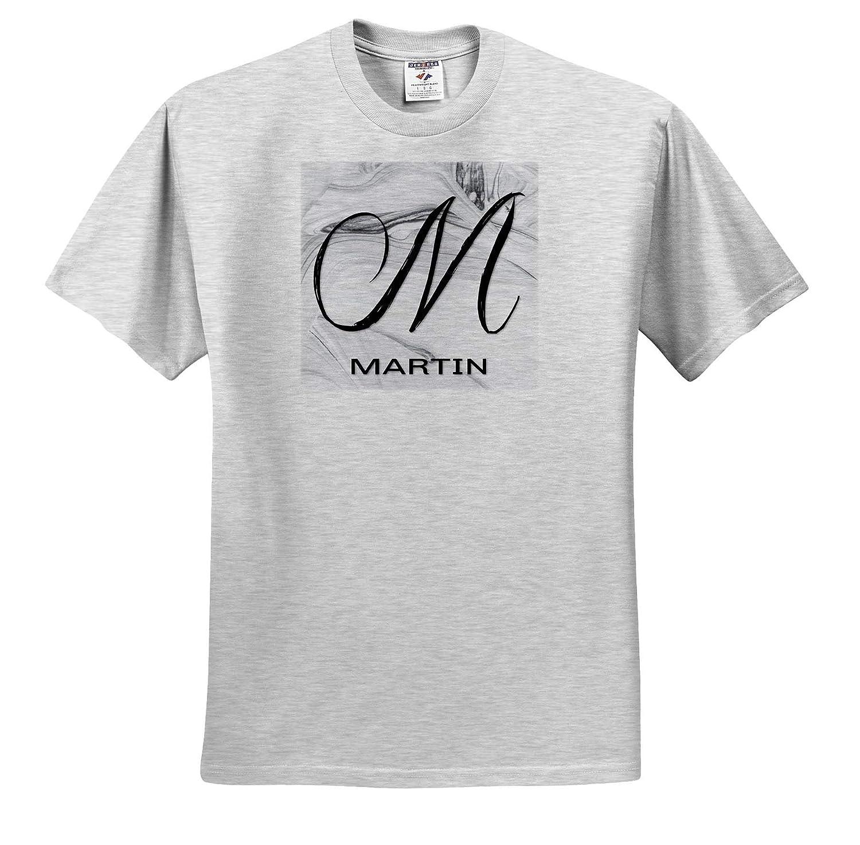 Martin T-Shirts 3dRose BrooklynMeme Monograms White Marble Monogram M