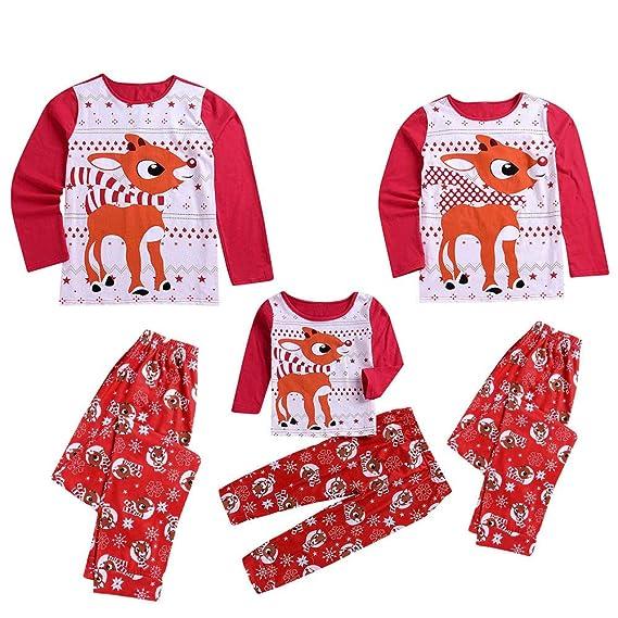 Pijamas de Navidad Familia Conjunto Pantalon y Casual Camisa para ...