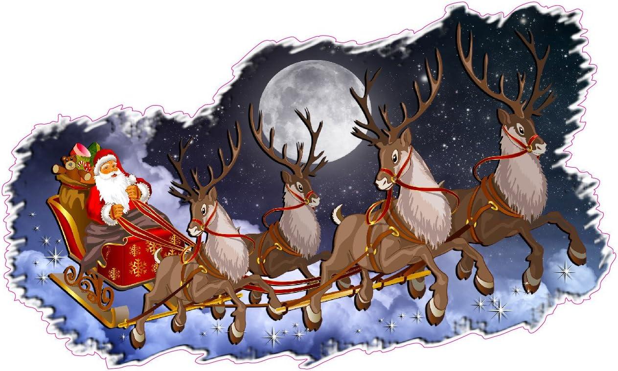 22240 Santa and Reindeer Santa Door Decal Front Door Decor Vinyl Door Decal Christmas Wall Decal Santa and Sleigh