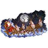 Santa claus wall decals in his sleigh with 8 for Christmas wall art amazon