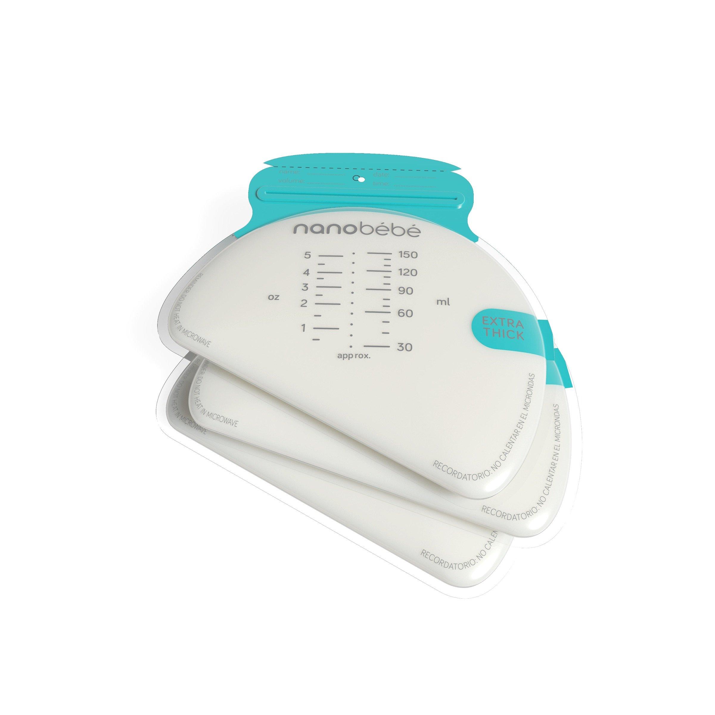 nanobebe Breastmilk Freezer Storage Bags, 50 Pack Flat Stacking Breastfeeding Storage Extra Thick Breastfed Baby Bags (Moms Choice Award Winner)