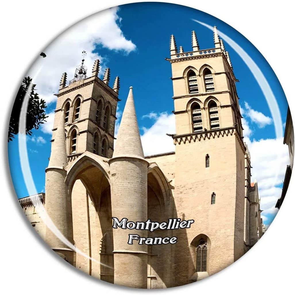 Montpellier France Cathedrale St-Pierre Fridge Magnet Travel Gift Souvenir Collection 3D Crystal Glass Sticker