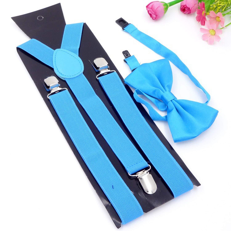 Unisex Adjustable 3 Clip 2.5CM Braces Elastic Y-back Suspender And Bow Ties Set For Women Men