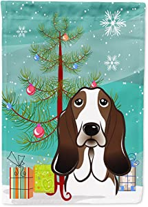 Caroline's Treasures BB1615GF Christmas Tree and Basset Hound Flag Garden Size, Small, Multicolor