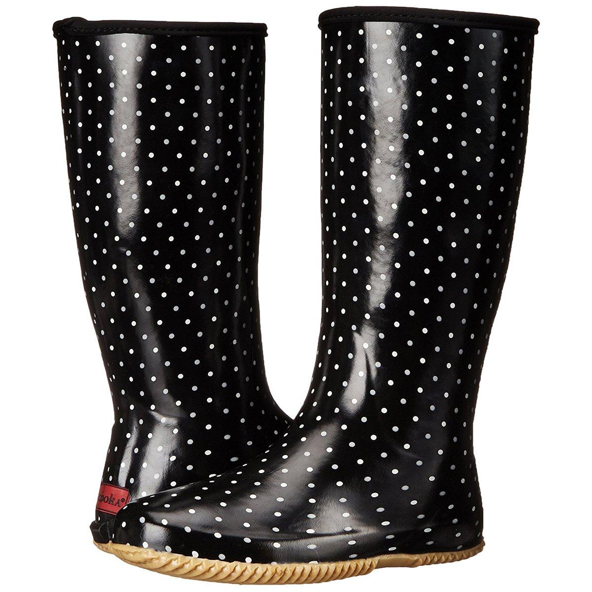 Chooka Women's Packable Rain Boot, Classic Dot Black, 9 M US