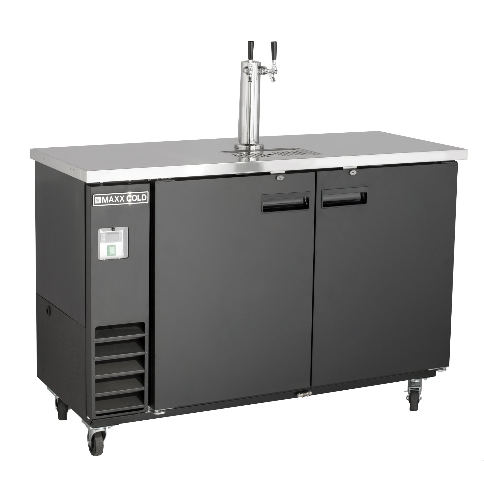 Maxx Cold MXBD60-1B Commercial NSF Bar Direct Draw Kegerator Beer Dispenser Cooler with 1 Single Tower Tap Holds 2 Half 1/2 Size Keg, 61.1 Inch Wide 14.2 Cubic Feet , Black