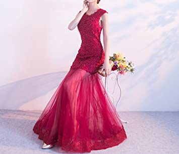 SHJJK T-Shirt Hombro Tostadas Dos Vestido de Novia Novia Banquete Vestido Rojo Puerta Trasera