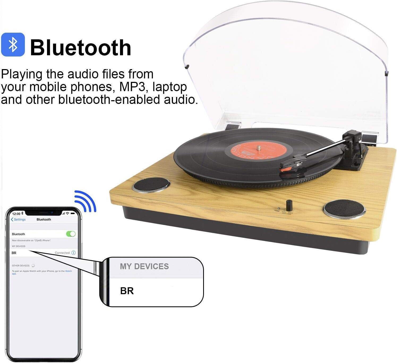 Tocadiscos de madera vintage 33//45//78 reproductor de registro de velocidad con altavoces est/éreo integrados compatible con grabaci/ón de vinilo a MP3 MUSITREND salida RCA para altavoz externo