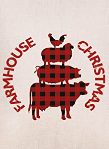 Hzppyz Farmhouse Christmas Garden Flag, Home Decorative Xmas Outdoor Flag Buffalo Check Plaid Animals, Rustic Burlap Yard Garden Flag Vintage Winter Outside Decoration Home Decor Flag 12.5 x 18