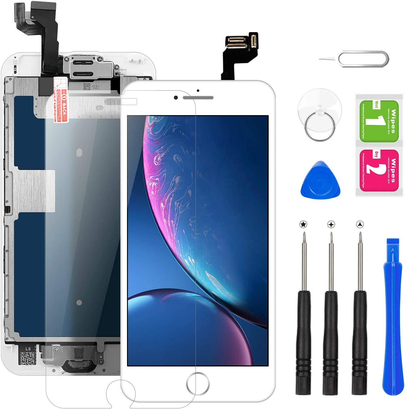 for iPhone 6S Screen Replacement White, BuTure LCD Touch Screen Digitizer Assembly for A1633, A1688, A1700, with Home Button, Front Camera, Ear Speaker and Proximity Sensor