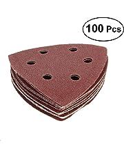UEETEK 100PCS Triangle Sanding Discs Sandpaper 6 Hole Grit 40/60/80/120/240