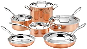 "Cuisinart 10pc Tri-Ply Cooper Cookware Set: 1qt with Cover,2.5qt with Cover,4qr Saute with Cover and Helper Hander, 8"" and 10"" Skillets, 8 Quart Stock Pot, 20 Piece Set, Copper"