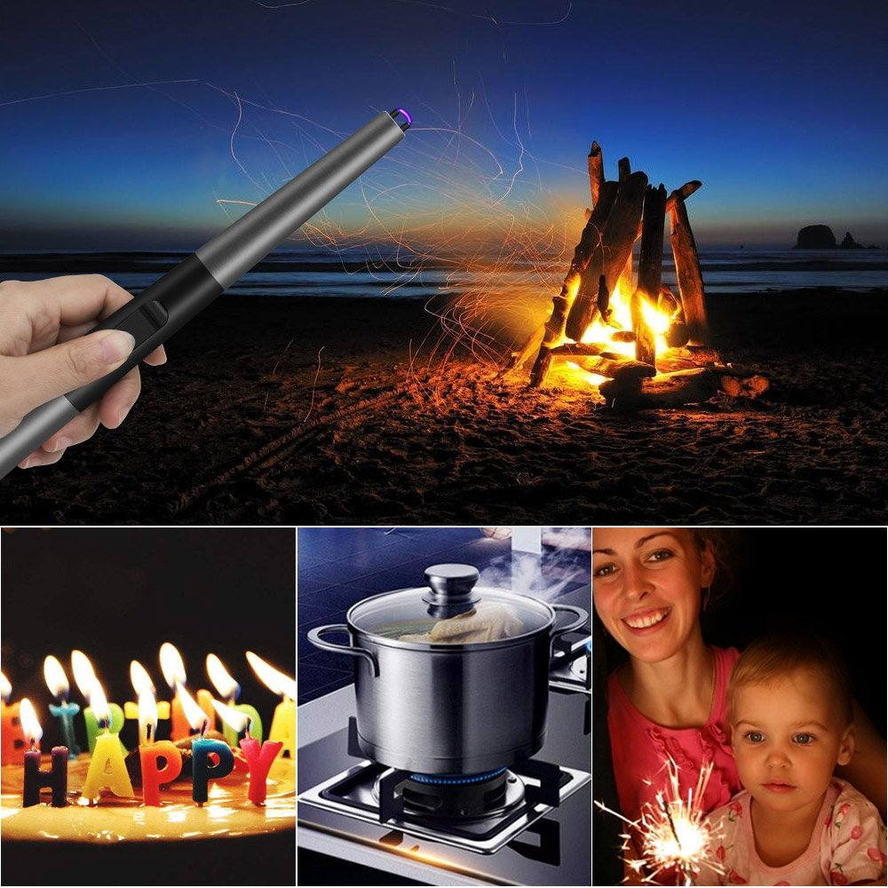 Grill lighters Electric Long Lighter -Rechargeable Long Neck Plasma Arc Lighters Long,Windproof Candle Lighter for Home Kitchen BBQ Camping Stove Outdoor Sports Activities,Pewter by Magic Flame (Image #6)