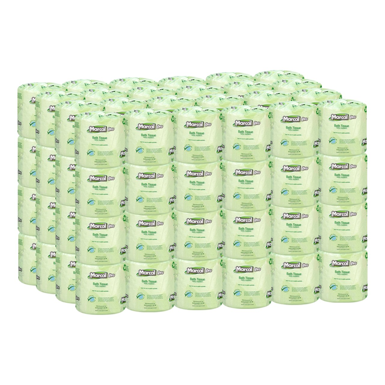 Marcal Pro Toilet Paper, 100% Recycled - 2-Ply, White, 500 Soft & Absorbent Sheets per Roll, 96 Rolls per Case - Green Seal Certified, Bulk Office Bath Tissue 05002 by Marcal (Image #1)