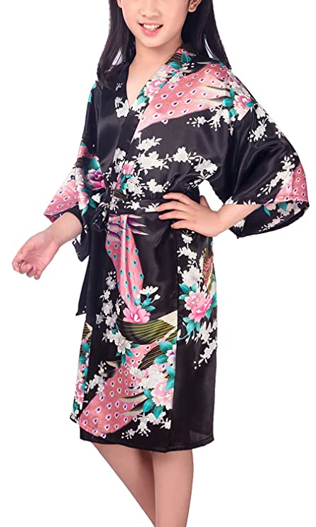 Bathroom Swimming Wedding Birthday Nightwear Pyjamas Sleepwear YAOMEI Kid's Girl's Dressing Gown Kimono Robe Satin Cherry Blossoms Bathrobe for Spa