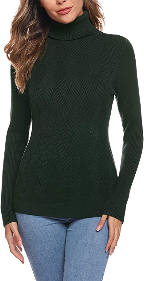 Aibrou Donna Maglioni Maglia Elegante Collo Alto Leggero Dolcevita Maglieria Elegante Sweater Pullover per Autunno Inverno