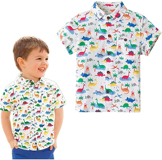 Baby Boy T Shirts Summer Dinosaur Boys T-Shirts Cotton Kids Tops Tee Turn-Down Collar Boy,