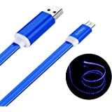 Micro USB 充電ケーブル, Welmor 光るUSBケーブル おしゃれ 高耐久 LEDライト データ転送 Samsung/Sony /Nexus/LG/Androidスマホ完全対応(1M,ブルー)