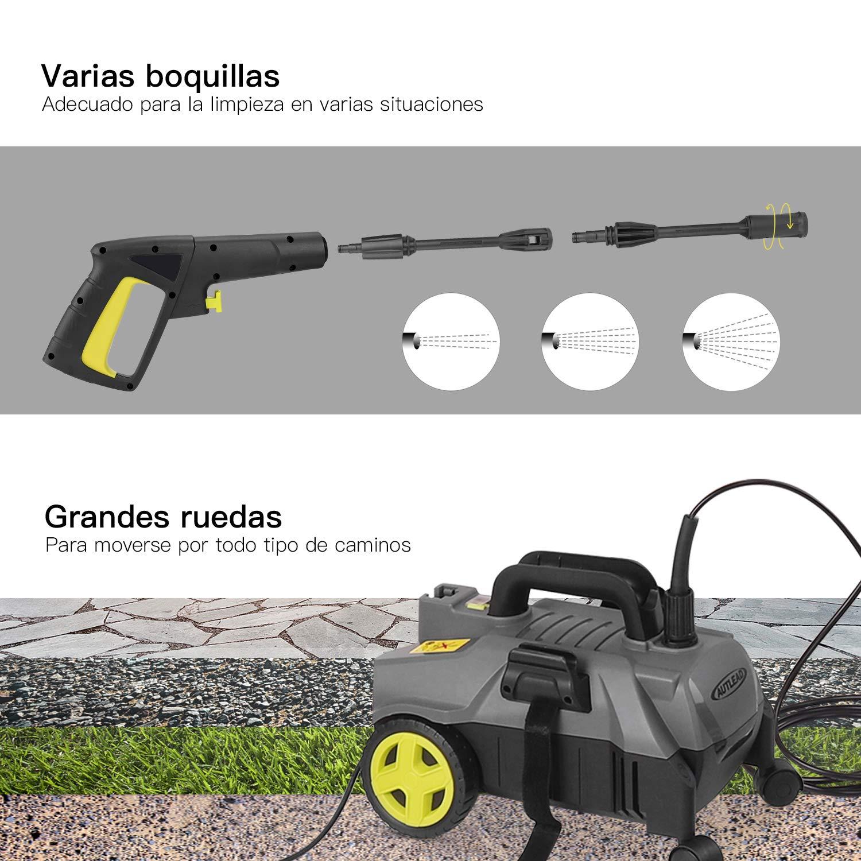 AUTLEAD Hidrolimpiadora,1400W 100 Bars 390 L/H, Boquillas 3 en 1, Manguera de 5M, Bomba de Aluminio Portátil, Limpiador de Presión Compacto,para el ...