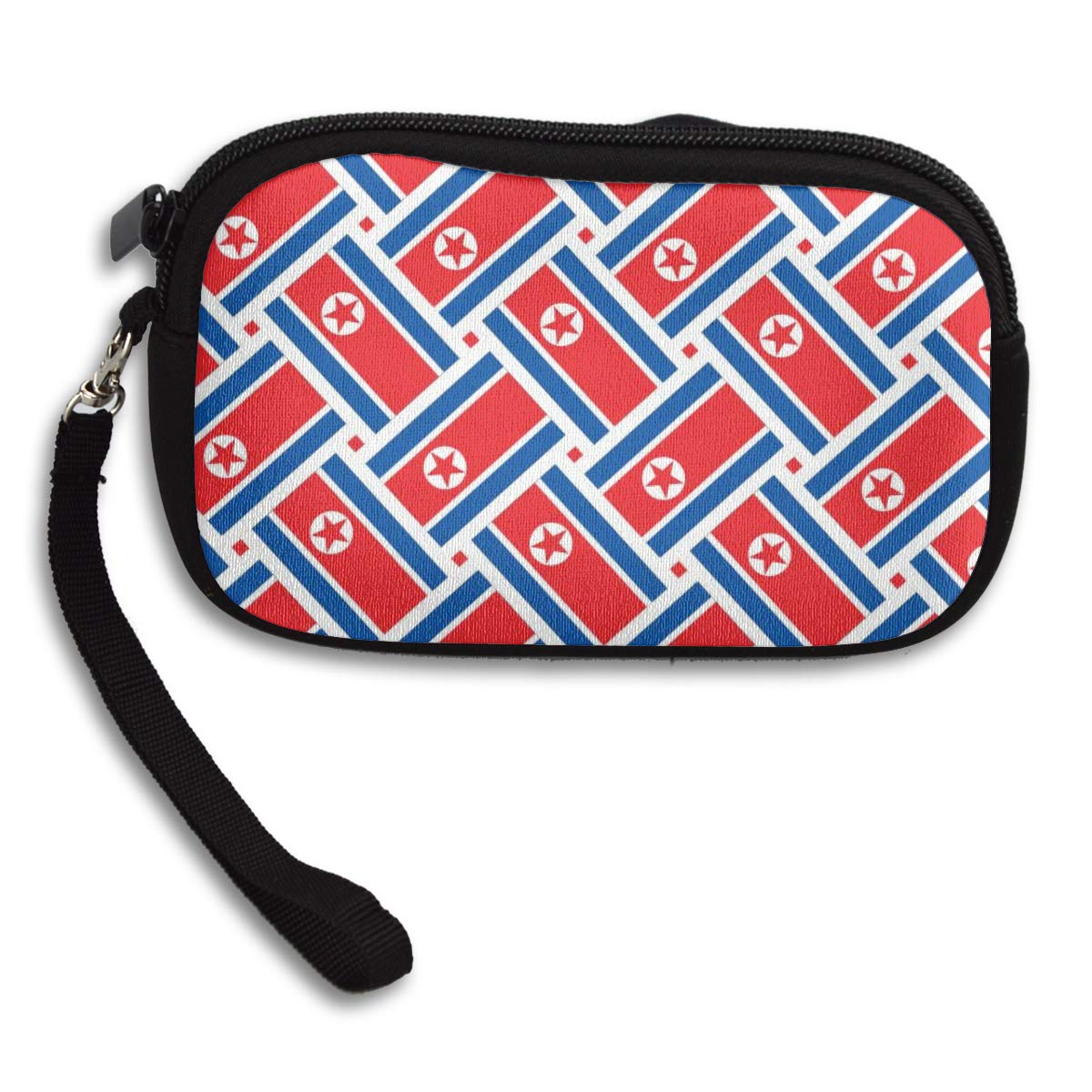 Coin Purse North Korea Flag Weave wallet change Purse with Zipper Wallet Coin Pouch Mini Size Cash Phone Holder