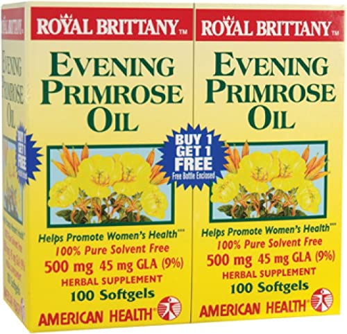 American Health Royal Brittany Evening Primrose Oil Softgels, 2 Pack – Promotes Women s Health – Nutritional Support for Women With PMS – Non-GMO, Gluten-Free – 500 mg, 100 Count, 200 Total Servings