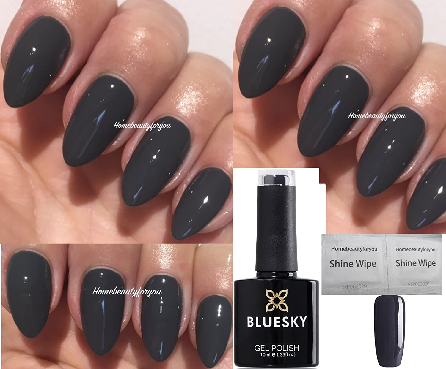Bluesky 80531 Dark Grey Asphalt Chic Twilight Nail Gel Polish UV LED Soak Off 10ml PLUS 2 Homebeautyforyou Shine Wipes LTD