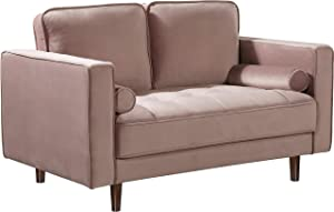 Meridian Furniture Emily Collection Modern   Contemporary Velvet Upholstered Loveseat with Luxurious Deep Button Tufting and Custom Wood Legs, Pink, 59