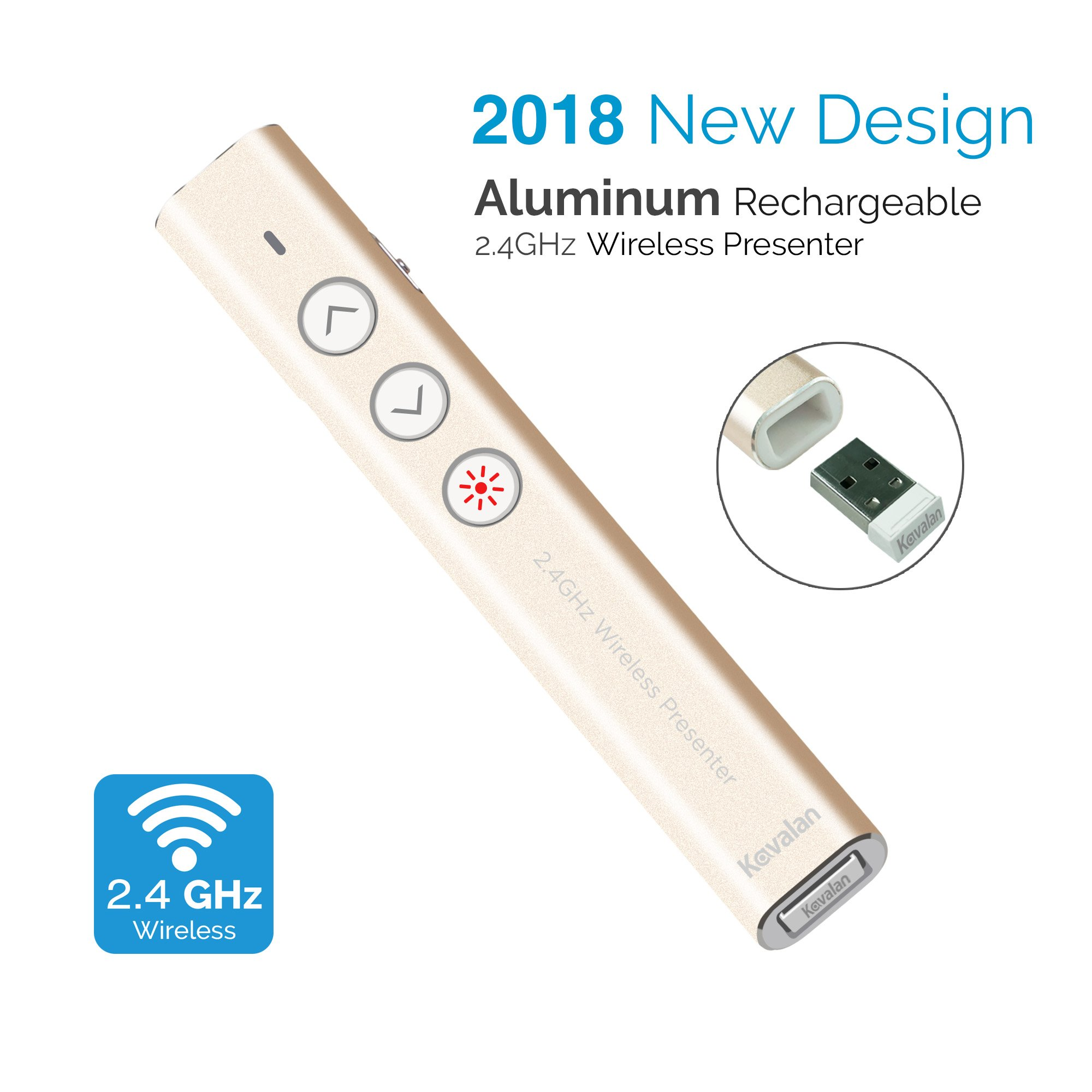 Kavalan Aluminum 2.4G Rechargeable Wireless Presenter, Remote Clicker with Red Pointer, Mac Keynote and Windows PowerPoint PPT Clicker, Office Presentation Pointer_Gold