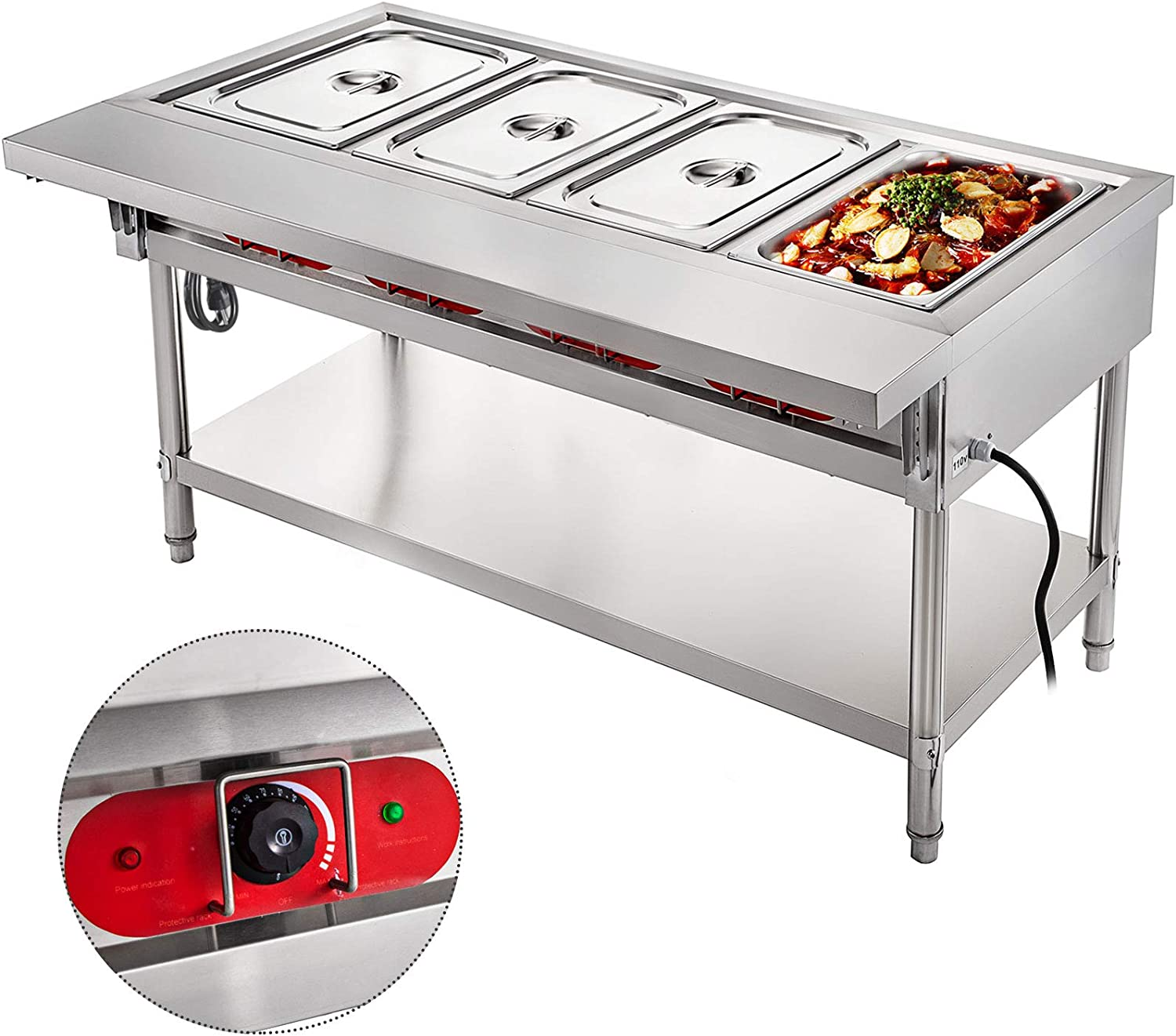 VBENLEM Steam Table Food Warmer 4 Pot Steam Table Food Warmer 18 Quart/Pan with Lids with 7 Inch Cutting Board Commercial Electric Food Warmer Bain Marie Buffet Steam Serving Counter 110V 2000W