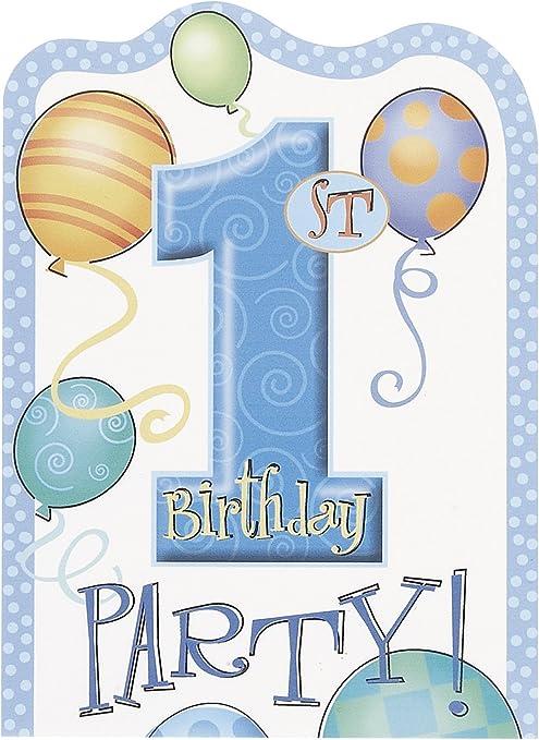 Primer cumpleaños azul globos tarjetas de invitación – Pack de 8: Amazon.es: Bebé