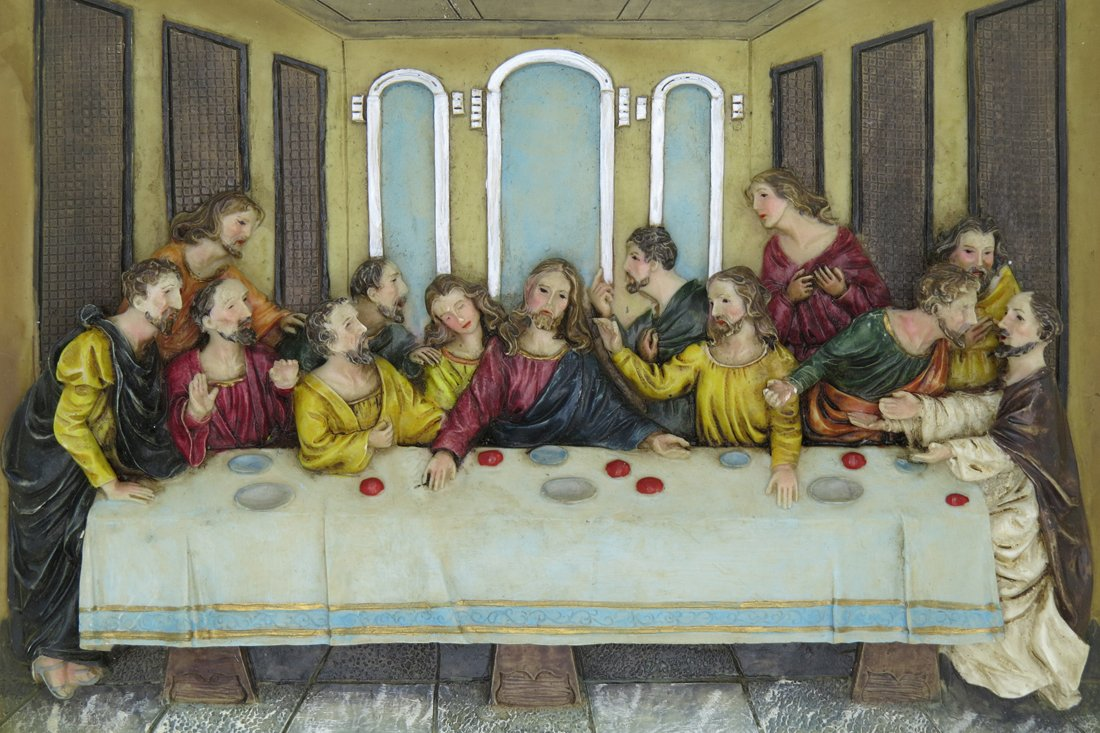 GGCI Hand Painted Resin Plate Décor Resin Cameo Sculpture Statue Figure and wooden frames Last supper by GGCI (Image #2)
