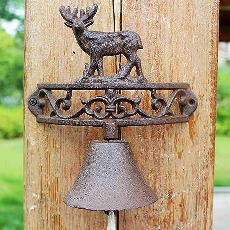 FGA Decoración Vintage Timbre Retro Hierro Elk Timbre Jardín Campana de Hierro Fundido Vintage Jardín Hecho a Mano Campanas de Viento 21x12x21cm Timbre de Hierro Fundido: Amazon.es: Deportes y aire libre