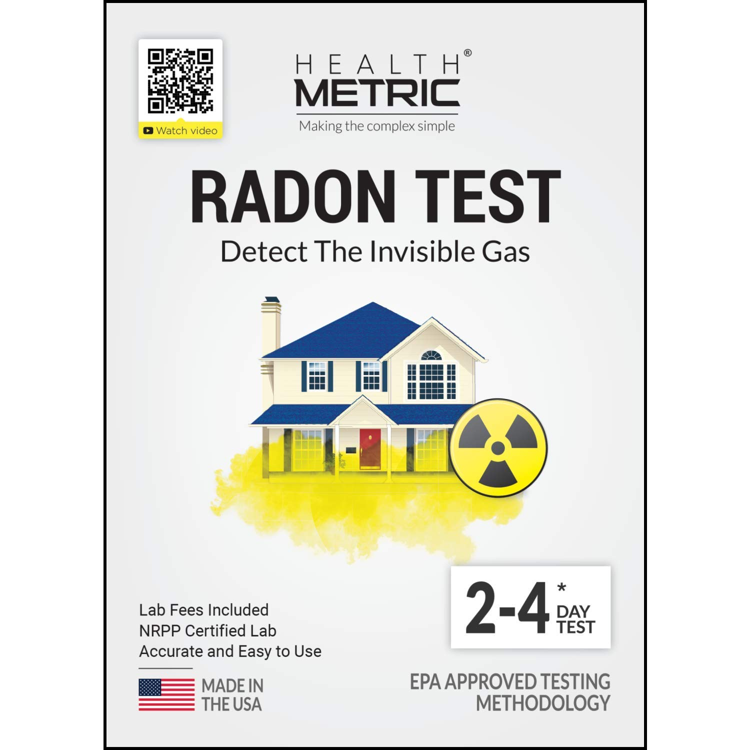 Radon Test Kit for Home - Easy to Use Charcoal Radon Gas Detector for Peace of Mind | 48-96h Short Term EPA Approved Radon Tester | Includes Lab Fees | Protect Yourself and Your Family