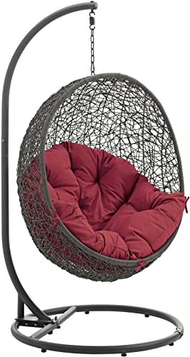 Modway Hide Wicker Rattan Outdoor Patio Porch Lounge Egg Swing Chair Set with Stand in Gray Red