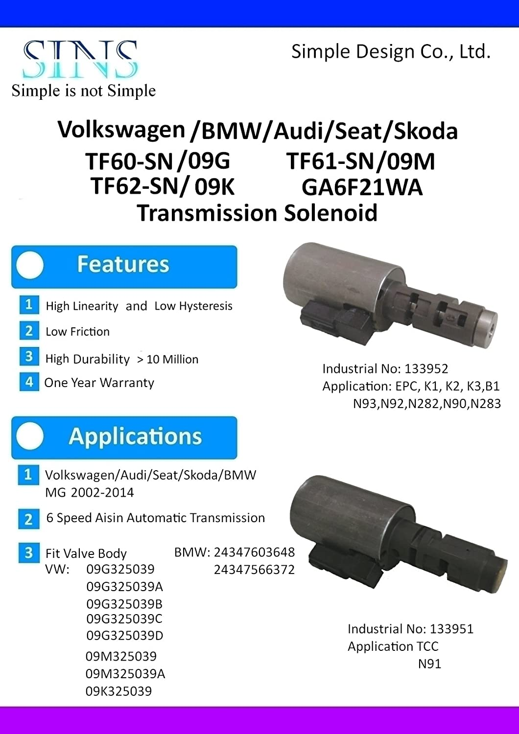 SINS TF60-SN//09G//TF61-SN//09M//TF62-SN//09K//GA6F21WA Transmission Solenoid Kit 09G325039//A//B//C//D-Large Canister