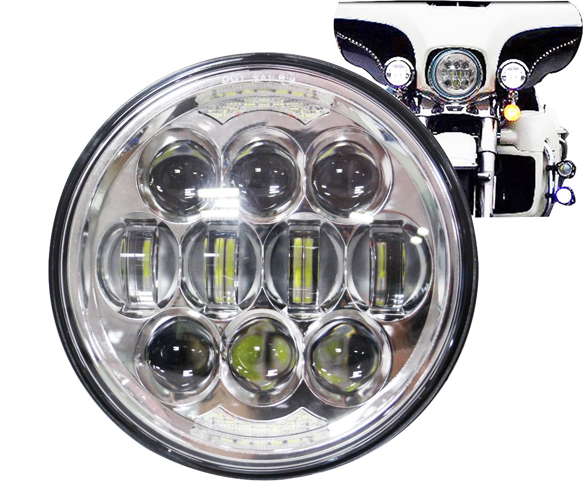 COWONE 80W Osram Motorcycle 5-3/4 5.75 LED Headlight for Harley Davidson 883,sportster,triple,low rider,wide glide Headlamp Projector Driving Light