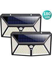 Solar Lights Outdoor,180 LEDs Wireless Motion Sensor Light 3 Modes Security Lighting Wall Lights,IP65 Waterproof Easy-to-Install with 270°Angle Night Light for Front Door, Step Stair,Yard, Garage, Deck---2 Pack