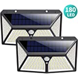 Solar Lights Outdoor 180 LED,Yacikos 2000LM Super Bright Security Lights 270°Wide Angle Motion Sensor Lights Wireless IP65 Waterproof Wall Night Light with 3 Modes for Fence Garage Step Stair(2 Pack)