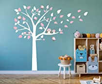87x78 Blue LUCKKYY Cute Owls with Birds Stand on The Tree Wall Decals Tree Wall Decals Tree Wall Sticker for Kid Baby Nursery Room