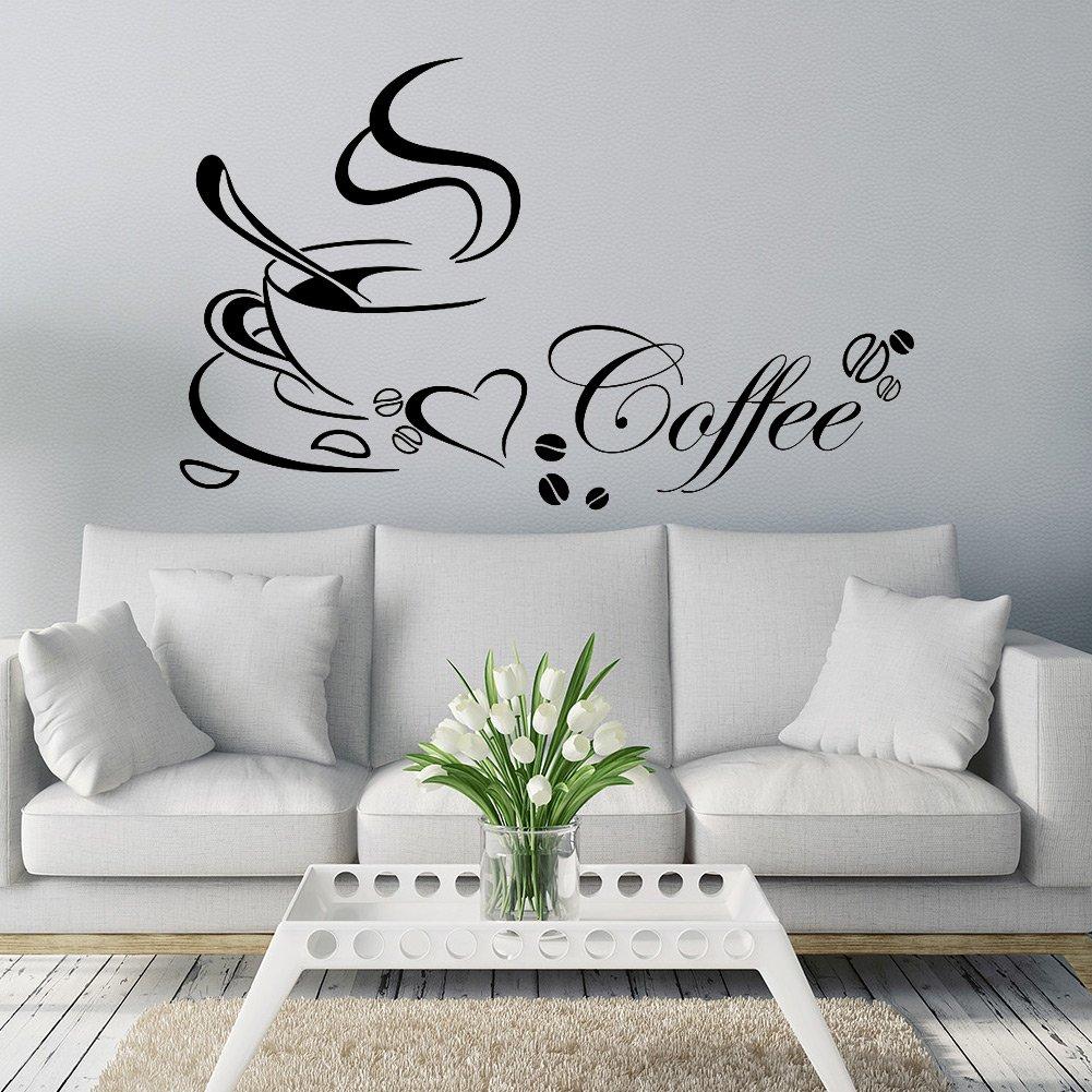 chenpaif fai da Te Tazza di caff/è smontabile della Parete del Vinile Adesivo Decalcomania murale Cucina casa Arredamento Nero