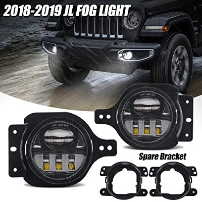 4 Inch Round Led Fog Light for Jeep Wrangler JL JLU with 2 Bracket 2020 2020: Automotive