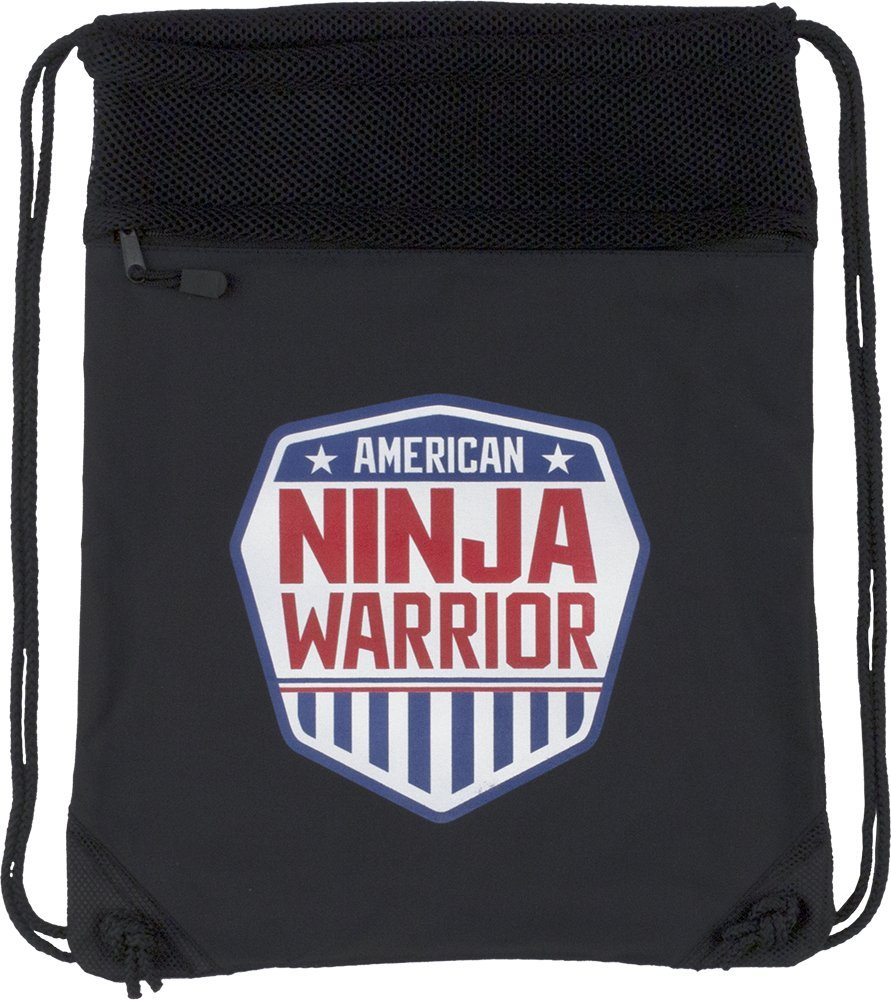 American Ninja Warrior Cinch Backpack - Black - Official ANW Gear - Perfect Gift for ANW Fans
