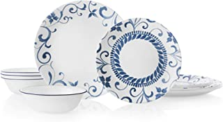 product image for Corelle 12-Piece Dinnerware Set Service for 4, Chip Resistant, Glass, Artemis, Vitrelle