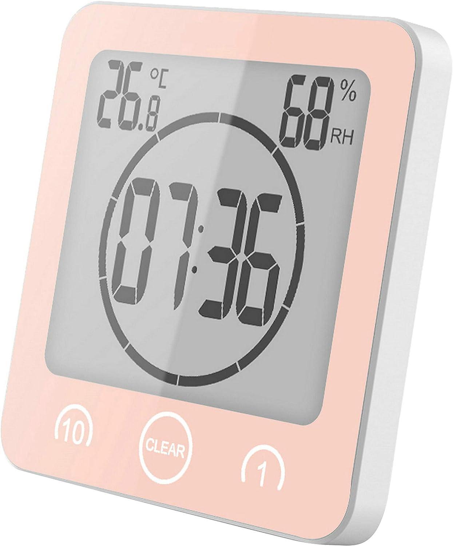 GuDoQi Temporizadores Reloj De Pared Termómetro Interior Higrómetro para Baño Ducha Maquillaje